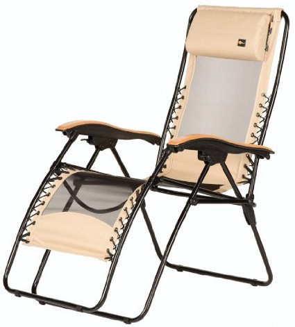 Faulkner 48970 Newport Style Beach Sand Recliner with Wood Armrests X-Large
