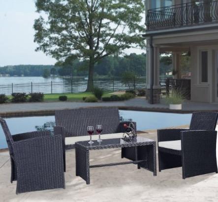 Goplus 4 PC Rattan Patio Furniture Set Black Wicker Garden Lawn Sofa  Cushioned Seat Review