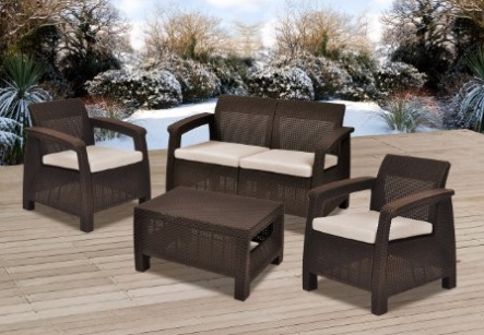 Keter Corfu 4 Piece Set All Weather Outdoor Patio Garden Furniture W:  Cushions, Brown