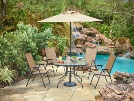 Mosaic Outdoor 6-Piece Folding Patio Dining Furniture Set with Umbrella review, Seats 4