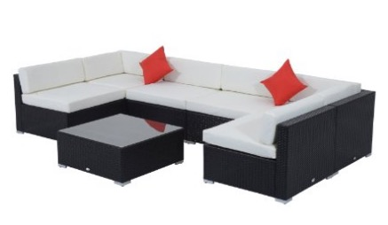 Outsunny 7 Piece Outdoor Patio PE Rattan Wicker Sofa Sectional Furniture Set review