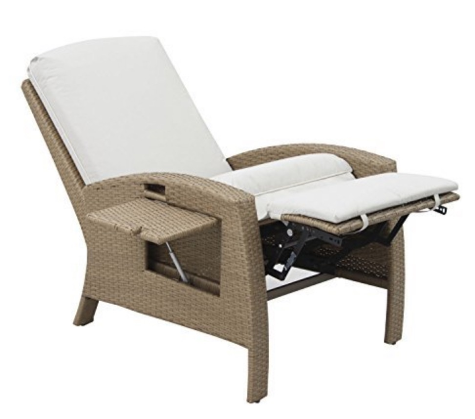 Outsunny Outdoor Rattan Wicker Adjule Recliner Lounge Chair