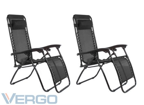 Vergo Zero Gravity 2 Pack Reclining Pool Patio Outdoor Lounge Chairs (Black)