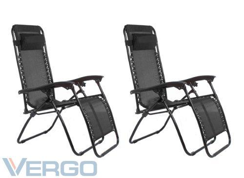 Vergo Zero Gravity 2 Pack Reclining Pool Patio Outdoor Lounge Chairs (Black)