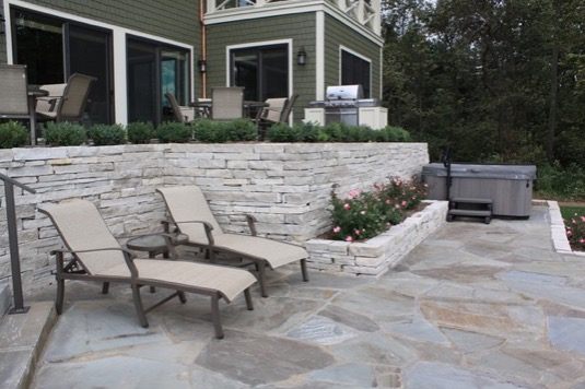 bluestone pavers two tiered patio