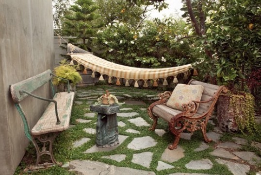 exotic backyard patio