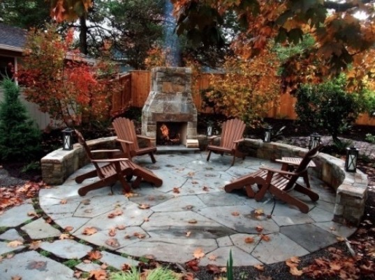 flagstone patio fall colors