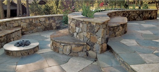 flatstone patio with natural floor