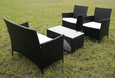 merax 4 PCS Cushioned Outdoor Wicker Patio Set Garden Lawn Rattan Sofa Furniture