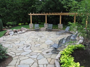 patio design backyard outdoor ideas stone firepit