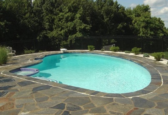 pool patio flagstone mixture of colors