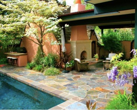Awesome Mediterranean Inspired Patio Slate Flagstone Ideas