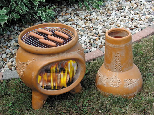 chiminea grilling