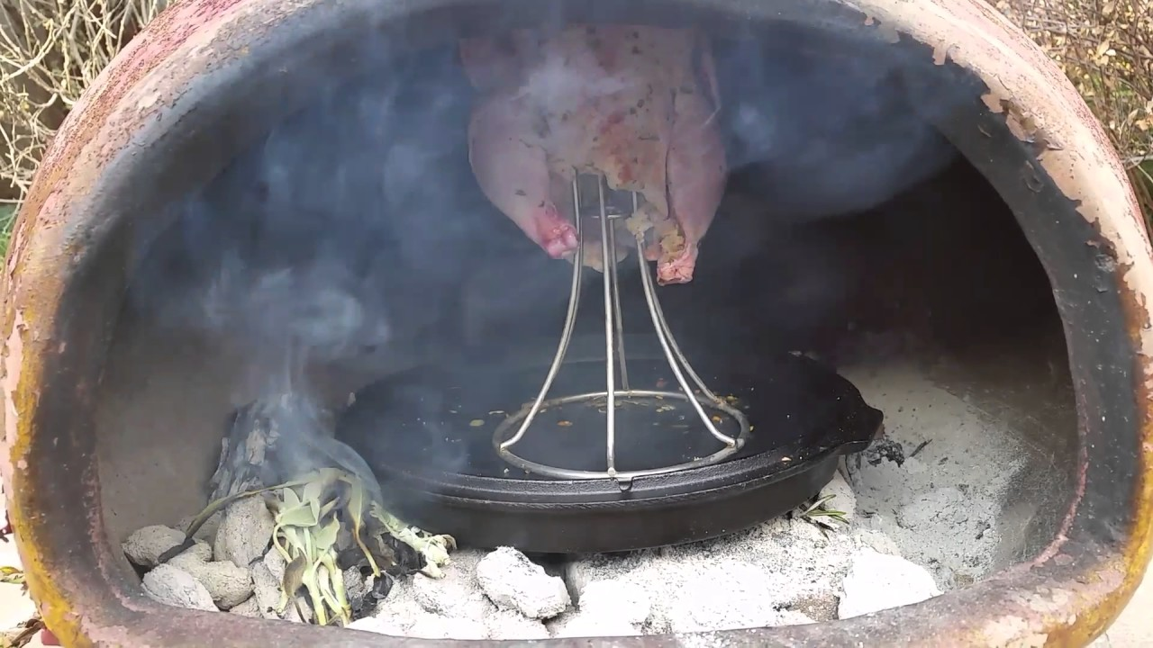 smoking a chicken chiminea