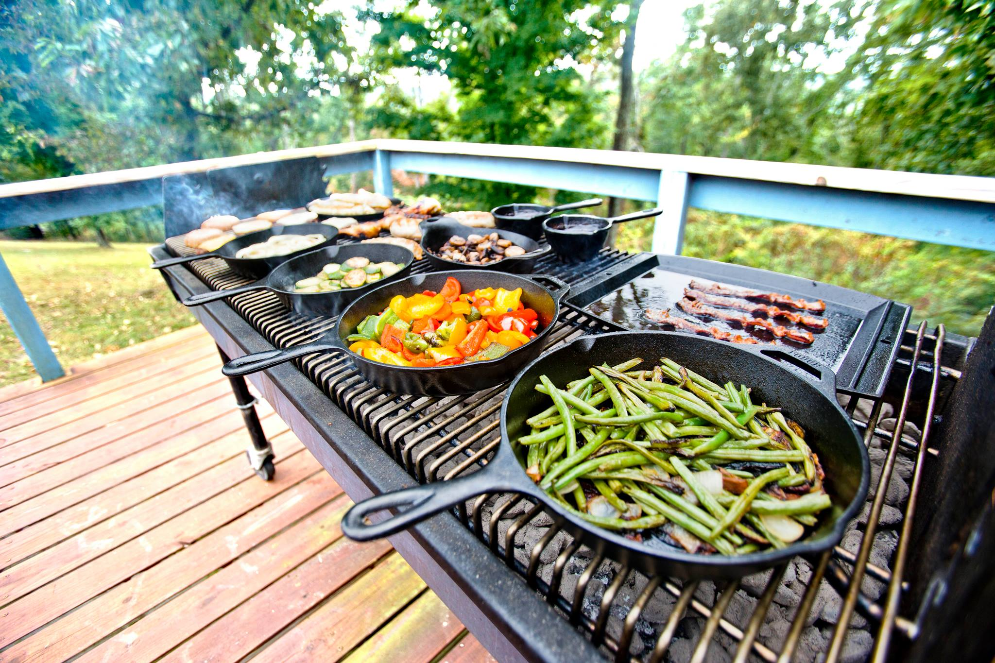 Grilling With Cast Iron In A Firepit