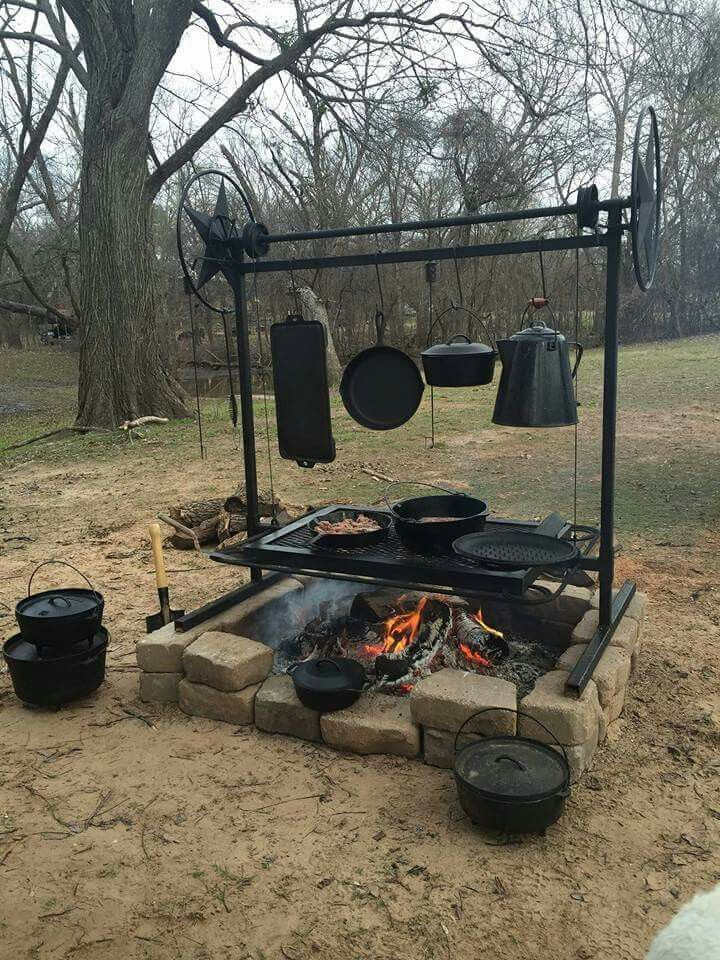 Firepit Cooking With Traditional Cast Iron