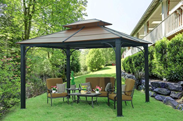 Sunjoy Galvanized Steel Hardtop Gazebo - Faux Copper Top