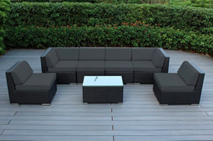 Ohana Outdoor Furniture Sectional Sofa 7 PC All-Weather Black Wicker ...