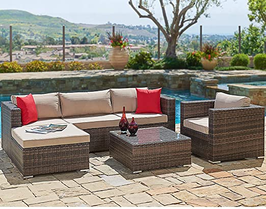 Suncrown Outdoor Furniture Sectional Sofa and Chair