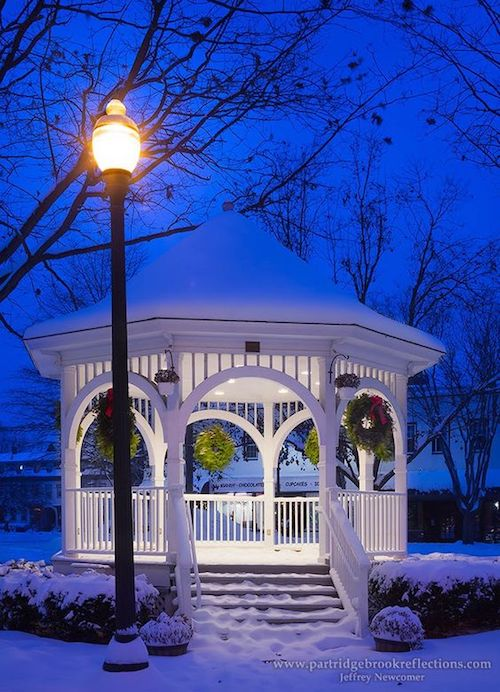 winter white and blue gazebo