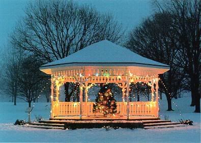 xmas hard top gazebo decorated