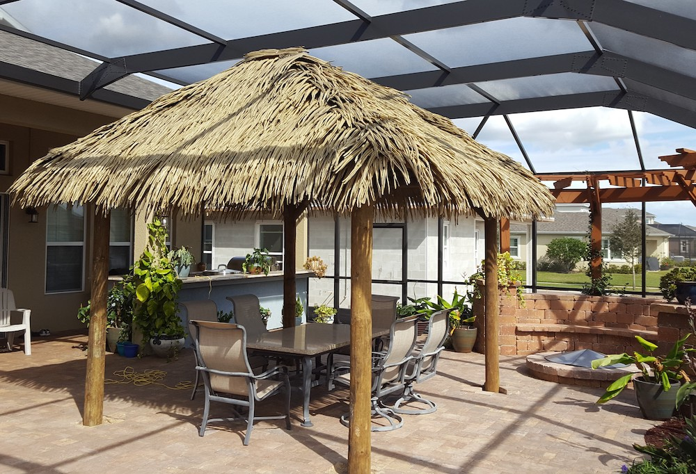 Palmex synthetic thatch rectangle tiki hut