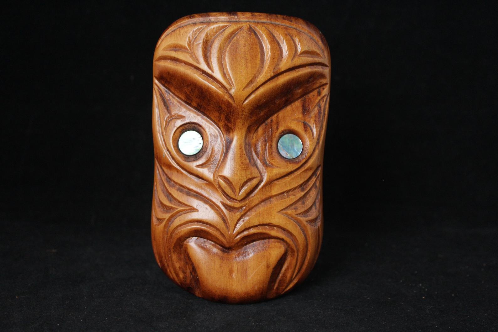 Carved Wood Hawaiin Tribal Head Figurine With Abalone Shell Eyes